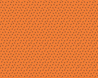 SALE Happy Haunting Halloween fabric by Deena Rutter and Riley - Happy Haunting Spiders in Orange- Fat Quarter, Half Yards, Yardage