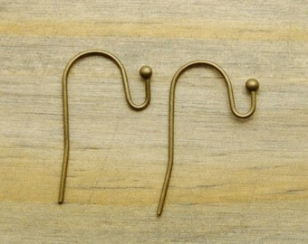 25 PAIRS Antique Bronze Plated Brass French Hook Ball End Earwires - Ships from USA - 50 Pieces