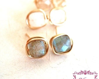 Gemstone stud earrings, post earrings, square studs by Vitrine Designs Gift for her under 50 Skipping stones