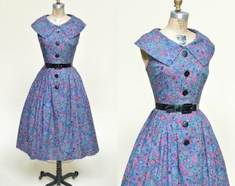 1950s Day Dress --- Vintage Cotton Dress
