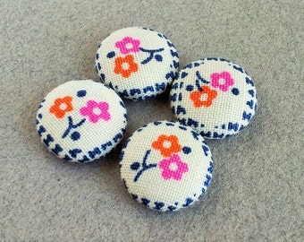 fabric covered buttons - flower print buttons - mini buttons for sewing and scrapbooking - floral - colorful