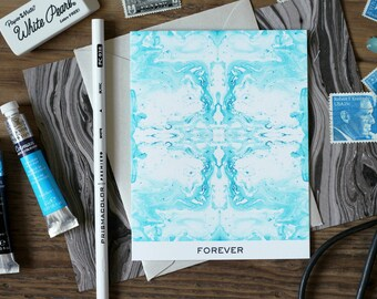 Greeting Card FOREVER Tiled Aqua Marble / Marble Pattern XVI