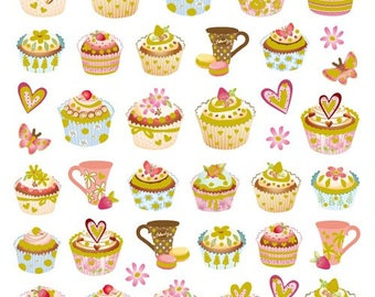 Tea Time Sticker • Cupcake Stickers • Cupcakes • Tea Party Favors • Tea Party Sticker • Macaron Sticker • Macaron • Tea Cup (SK4912)
