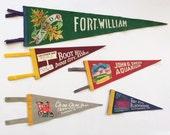 5 Vintage Souvenir Felt Pennants Travel Banners
