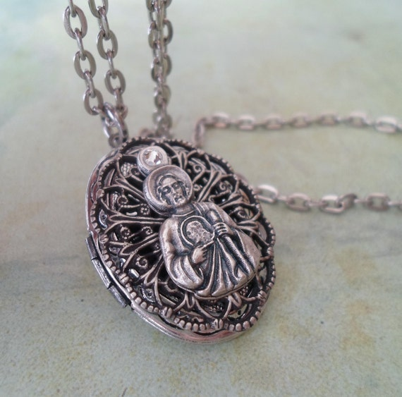 st jude locket necklace italian charm by marysprayers on etsy