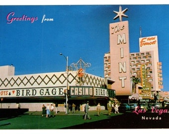GREETINGS From Las Vegas FREMONT STREET  Vegas Strip Color Postcard Post Card The Mint, Bird Cage, Hotel Fremont, Boulder Club More