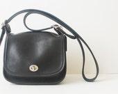 vintage leather bag . black leather saddle bag . vintage black coach leather handbag purse