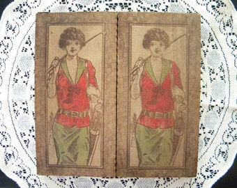 Vintage 1920's Pyrography Box with Flapper Golf Girl