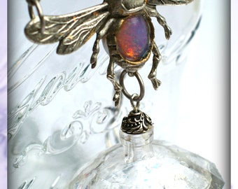 Silver Bee & Vintage Opal Glass Necklace with Tiny Perfume Bottle
