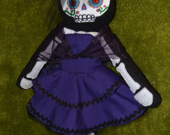 OOAK Custom Day of the Dead Dia de los Muertos Sugar Skull Plush Doll