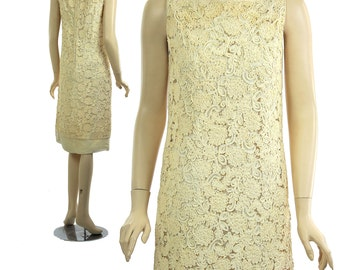 Vintage 60s lace shift dress Couture tape lace 1960s silk cocktail party dress Ivory tea party dress Sheer lace dress M Medium