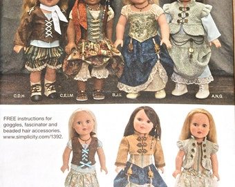 """18""""  Steam Punk Fashions Simplicity 1392 Doll Clothes Pattern for American Girl Type Dolls"""