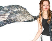 Wings scarf, bohemian bird feathers shawl, black, hand painted, digital print, sarong, perfect Valentine gifts.
