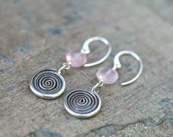 Pink Chalcedony Gemstone and Sterling Silver Spiral Drop Handmade Earrings, MindyG Jewelry, Pink Gemstone Earrings