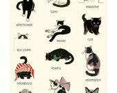 "Educational adjective wall art - Cat Lovers print - Cat Art - Cat wall art - Cat print - 8.3"" X 11.8"" - 4 for 3 Sale"