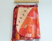 Tangerine Dream Short Skirt, Portlandia, Black Birds, Pink and Orange, Wrap Skirt, Mini Skirt, Short Wrap Skirt, One Size Fits Many