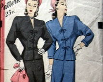 1940s Womens Suit Pattern With Batwing Sleeve Hollywood 1640 Sz 12