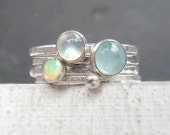 Hammered Silver Stacking Rings with Aquamarine, Moonstone, Opal, Pastel Gemstone Stack