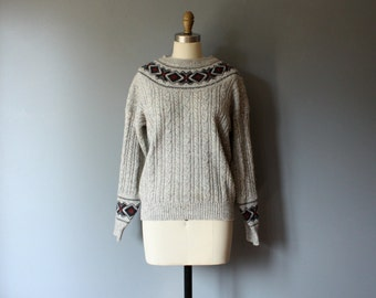 vintage cable knit sweater / grey wool sweater / M-L