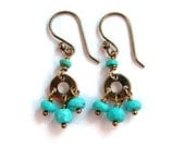 Turquoise Mini Chandelier Earrings in Bronze - Blue and Gold - Boho Chic Dangle Earrings - Modern Romance
