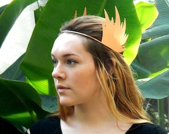 Hammered Copper Headband, Copper Crown, Winged Headband, Boho Headband, Festival Headband, Greek Headdress, Goddess Headband