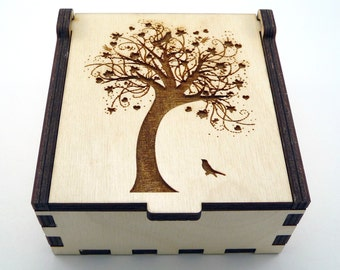 Tree of Life Jewelry Box, Wood Trinket Box, Small Jewelry Case, Laser Cut Box, Jewelry Storage Box, Tree of Life Wood Box, Jewelry Organizer