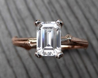 Emerald Cut Moissanite Twig Engagement Ring: Rose Gold; 1ct; Forever Brilliant ™
