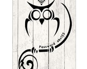 Wi-Fi Password - WiFi for Guests -  Wi-fi Sign - Digital Art - Printable - Owl