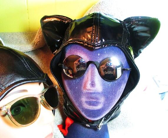 Arkham- Style Catwoman Aviator Hat in Black Patent PVC