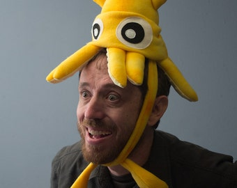 Small Fleece Squid Hat - Yellow Tie-Dye