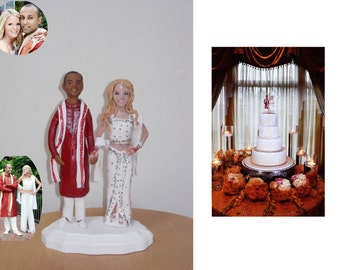 Look -Alike Interracial Bride & Groom Clay Portrait, Personalized and Custom Made Cake Topper