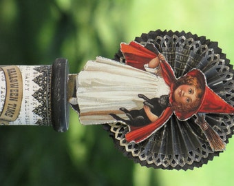 Vintage Halloween Victorian Inspired Witch with a Cat Spool with Paper Rosette