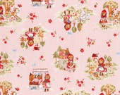 Japanese Cotton Fairytale fabric / Little Red Riding Hood  Allover L5392  pink / Little Heroines by Lecien of Japan, 1/2 yard