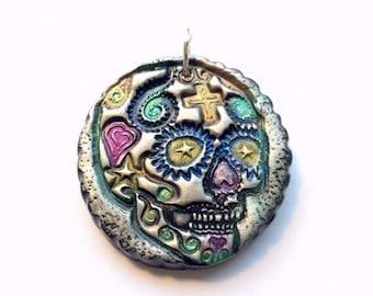 Sugar Skull Dia De Los Muertos Handmade Polymer Clay Pendant