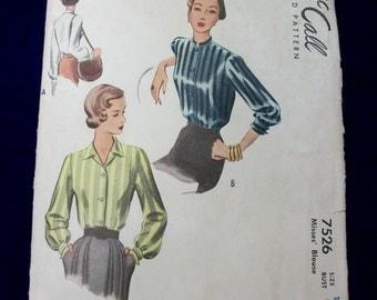 Vintage 1940s McCall Sewing Pattern . 7526 . Uncut Blouse 3 Views . Mandarin Collar . Bust 32