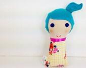 Small Fabric Doll, Mini Cloth Doll, Handmade Mini Dollie, Cloth Stuffed doll, Blue Haired Doll
