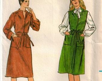 Vintage 80s Size 16 Bust 38 Misses Dress or Jumper Sewing Pattern w Belt Loose Fitting Bishop Sleeves Pullover Dress Pattern Butterick 3961