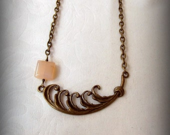 Brass Fern Scroll Chain Chaledony Necklace Fern Reaches For Cloud Necklace