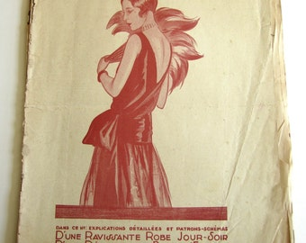 1920's Vintage French Magazine Mode Pratique November, 1929 Flapper Bathing Beauty Fashion and Sewing
