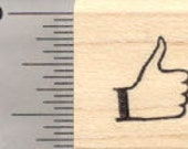 Small Thumbs Up Rubber Stamp, .5 inch Tall A28517 Wood Mounted