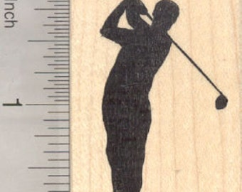 Golf Silhouette Rubber Stamp E28520 Wood Mounted