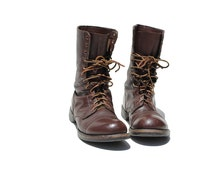 Size 10.5 Men's Mahogany Brown Leather Combat Boots