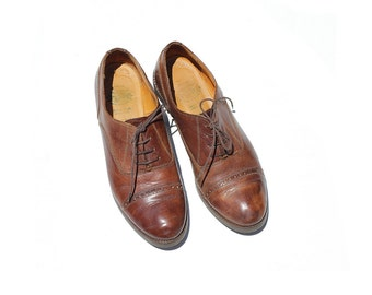 Size 8 Italian Brown Leather Oxford