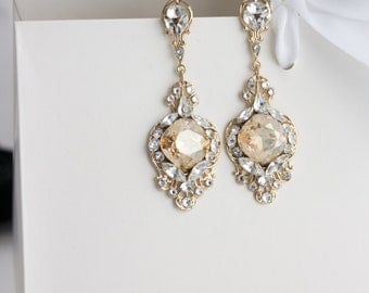 Gold Crystal Bridal Earrings Golden Shadow Crystal Rhinestone Champagne Wedding Earrings ESTELLA