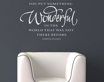 Inspirational Quote for the Wall - By being yourself you put something wonderful in the world - vinyl lettering wall decal room decor