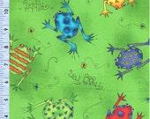 Frogs Cartoon Fun Green Quilting Treasures Fabric 1 yard