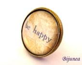 Be happy ring - Be happy quote ring - Be happy brown ring - Be happy ring - Be happy jewelry - Happiness ring r823