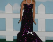 Barbie Doll Sweetheart Dress Handmade Black and Fushia Gown with Necklace
