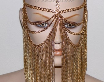 Tribal fusion golden chandelier Face chain harness jewelry headdress belly dance