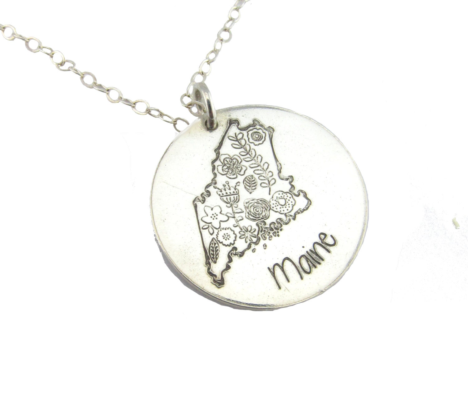 state necklace silver necklace personalized jewelry